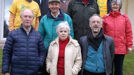 Campaigners from Save Our Sidmouth on the steps outside Knowle this week