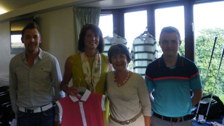 (left to right); Sidmouth Golf Club professional Ben Thorn, Andrea Milton, Gill Paddon and club assi