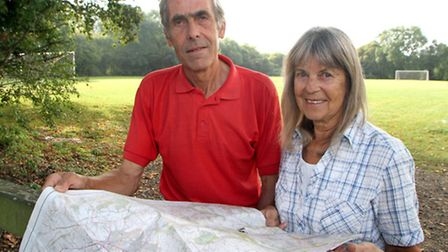 Sidmouth Walking Festival organisers, Ted Swan and Norma Self, plan the route for the last walk of t