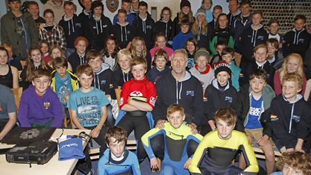 Dave Manley with members of Sidmouth surf life saving club for the start of the new season. Ref shs