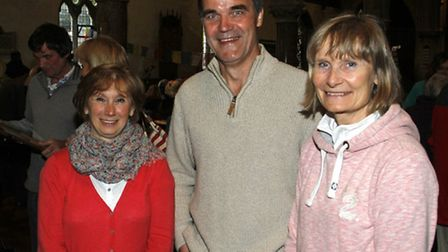 Susan Green with Carolyn and Michael Adkin at the Beer appeal event for the Nepal earthquake disaste