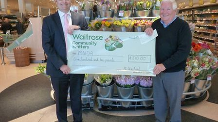 Alan Smith of the East Devon branch of the Motor Neurone Disease Association receives a cheque from