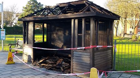 The Three Cornered Plot bus stop burnt down on Boxing Day