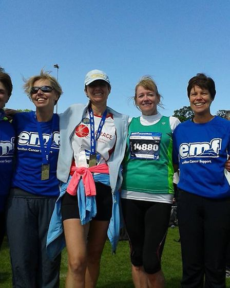 Marathon runner Jo Earlam (middle) with Claire Ashby, Becky Robson, Jane Hemsworth and Helen Palmer