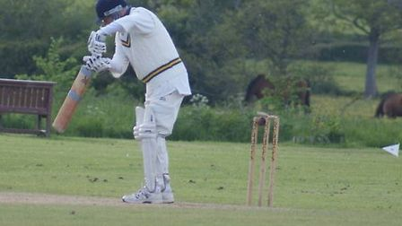 Jed Gillham is bowled in the game against Bridford