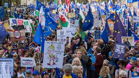 Hundreds of thousands of anti-Brexit protesters take part in 'Together for the Final Say' march through central London.