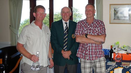 Sidmouth Golf Club Captain's Day.Overall prize winners, Adrian Baldwin and Steve Channing