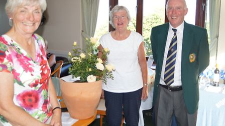 Sidmouth Golf Club Captain's Day. The lady prize winners Ros Eaton and Sheila Skittrall with the clu