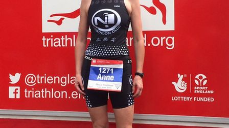 Ottery resident and Sidmouth swimming pool teacher Anne Ephraums at Deva Triathlon in Chester.