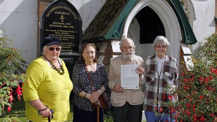 Hugh Barlow with Margaret Pilkington,Marian Brown and Elizabeth Barlow outside Sidmouth Unitarian ch