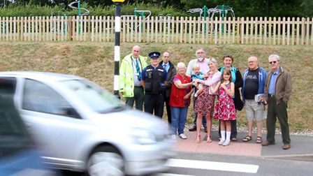 Stowford Rise residents appeal to the public to slow down. Ref shs 3423-29-15AW. Picture: Alex Walto