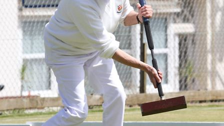 Sidmouth player Susan Rogers is pictured taking part in the Sidmouth June CA Tournament this week. R