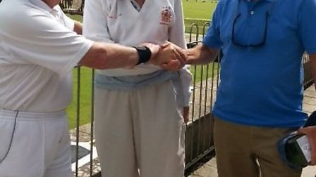 Tom Forsyth makes a most welcome visit to Sidmouth Bowls Club. He was welcomed by indoor captain Ron