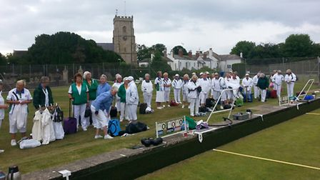 Sidmouth lady bolwers received a visit from the ladies' Devon County president, Margaret Brotheridg