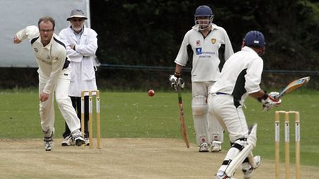 Will Harrison bowling at home for Ottery. Ref shsp 9081-26-15TI. Picture: Terry Ife