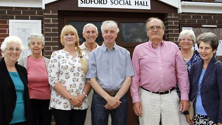 Ray Salter, chairman of Sidford social hall with existing members a new members Veronica Burge and P