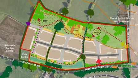 A concept plan of the Bloor Homes site, east of Sidmouth Garden Centre. Image is taken from a report