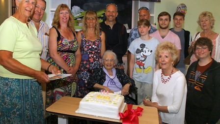 Maggie Radford celebrated her 100th birthday at Bindon Residential home at the weekend. Ref shs 3672