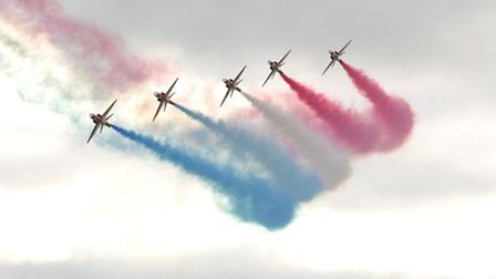 The Red Arrows performing their spectacular display over Sidmouth ten years ago. Ref shs 9920-36-04.