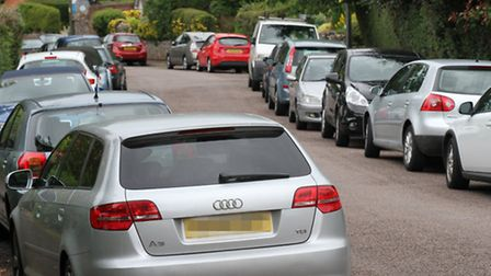 Vehicles parked this week along both sides of Hillside Road. Ref shs 3605-28-15SH. Picture: Simon Ho