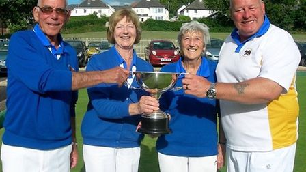 The victorious Howard Cottrell Trophy winners; Tony Bushell, Sharon Kenny, Mollie Parker and Kevin V