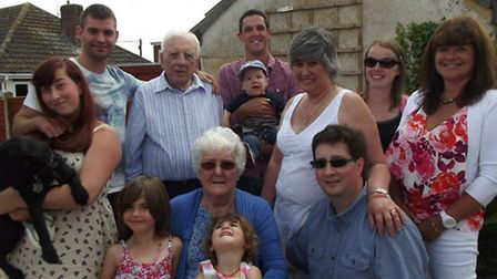 Rachel Shergold with her late second husband Gordon and her family last July