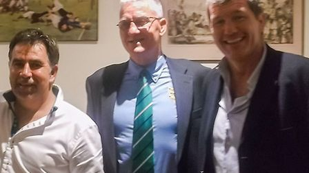 Rob Baxter with Sidmouth RFCs club captain Dan Retter, head coach Mark Beavis and chairman Lester Wi