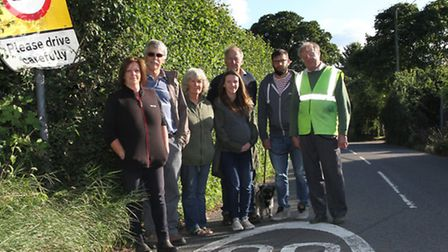 Alfington residents are calling for traffic controls in their village, the group is pictured alongsi