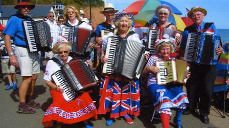 Members of West Dorset Accordian Group paid tribute to leader, Cynthia Bennett at FolkWeek