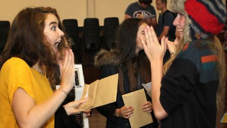 GCSE students celebrating success at Sidmouth College.. Ref shs 7771-34-15SH. Picture: Simon Horn