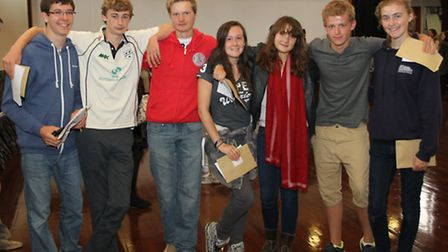 GCSE students celebrating success at Sidmouth College.. Ref shs 7780-34-15SH. Picture: Simon Horn