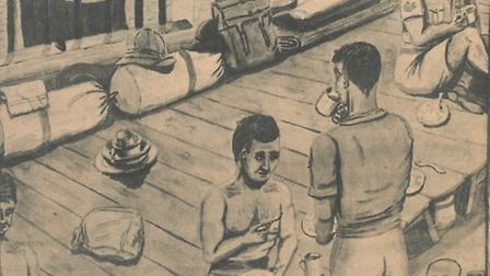 Mr O'Connor's painting of his cell at the Java prison camp shows the basic conditions the men were k
