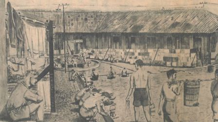 This watercolour by Mr O'Connor shows the prison camp in Java.