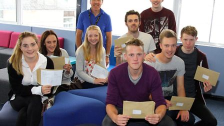 Sidmouth College students receive their A-level results. Ref shs 7519-33-15AW. Picture: Alex Walton