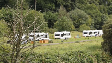 Travellers in the fair ground field near St Saviours bridge in Ottery. Ref sho 2227-33-15TI.