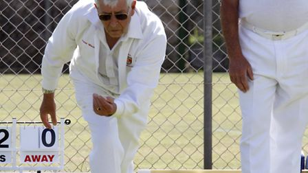 Chairman of Sidmouth bowls club Peter Mison playing in the mixed fours tournament at the weekend. Re