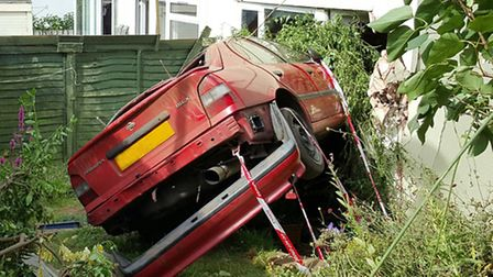 A car crashed into a house in Ladymead, Sidmouth