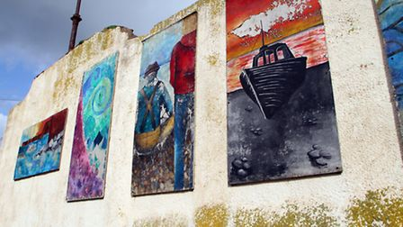 The murals at Sidmouth swimming pool car park. Picture by Alex Walton. Ref shs 5931-09-14AW