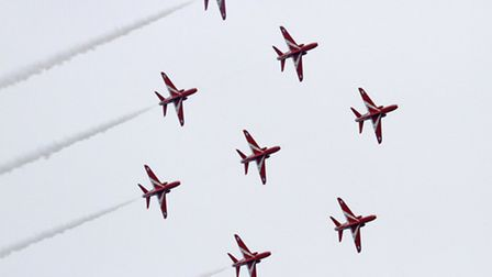 The Red Arrows at Sidmouth. Ref shs 5782-35-15TI. Picture: Terry Ife