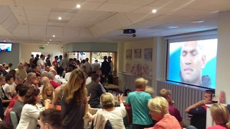 Sidmouth RFC clubhouse during the TV screening of the England versus Fiji World Cup game.