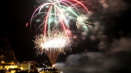 The spectacular Sidmouth Regatta firework display lights up the seafront on Saturday night. Ref shs