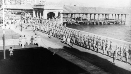 The victory parade in Hong Kong on September 16, 1945.
