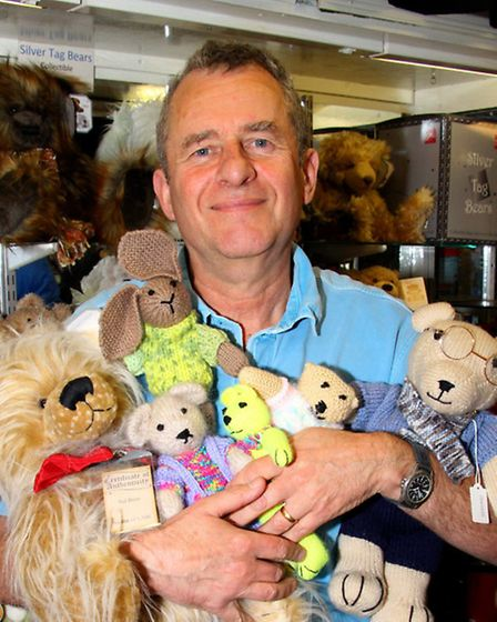 John Wycherley of Sidmouth Gifts is looking for bear donations for Prostate Cancer UK. Ref shs 7478-