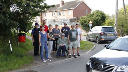 Claire Wright,Maria Clapp and supporters of the yellow lines group at the junction of Slade Road and