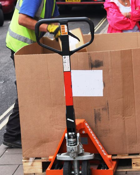 Pallet trucks sometimes block the pavement in Fore Street