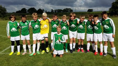 Sidmouth Raiders Under-12s. Standing (left to right); Ned Selley, Jamie Salter, Jack Goodman, Ollie