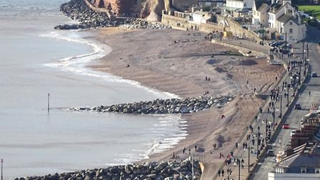 A view from Salcombe Hill at the weekend of the work being carried out on the shingle of Sidmouth be