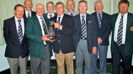 The Sidmouth Emerton Court team with the Claret Jug. (left to right); Trevor Kerridge, David Cowler