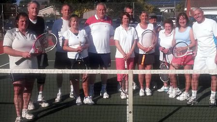The players who took part in the Sidford Tennis Club mixed tournament