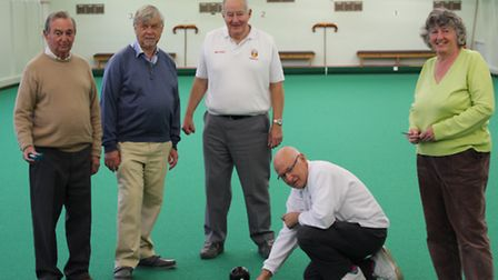 Sidmouth members Mike Reader and Allan Davis with new bowlers who took advantage of the introduction